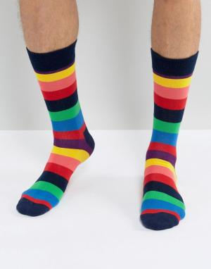 Happy Socks Носки в широкую полоску. Цвет: мульти