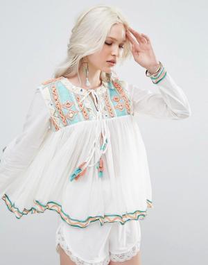 Raga Блузка с кисточками. Цвет: синий