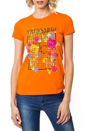 Футболка Trussardi. Цвет: оранжевый
