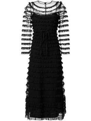 Длинное платье  с вышивкой Red Valentino. Цвет: чёрный