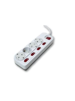 Энергосберегающий сетевой фильтр с функцией защиты от детей и пыли, 4 розетки 3м заземлением. Daesung. Цвет: белый