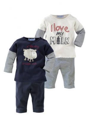 Комплект, 4 части: 2х футболка с длинными рукавами + легинсы KLITZEKLEIN. Цвет: синий+цвет белой шерсти+в полоску