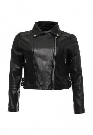 Куртка кожаная LOST INK CURVE. Цвет: черный