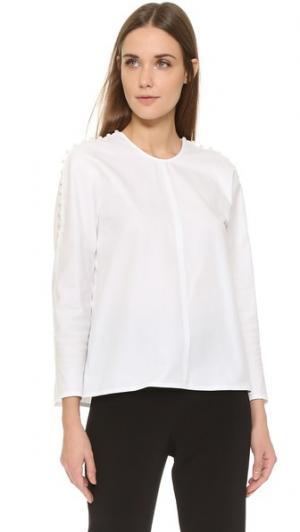 Блуза с отделкой пуговицами Wes Gordon. Цвет: белый