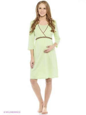 Сорочка для беременных и кормящих ФЭСТ. Цвет: зеленый