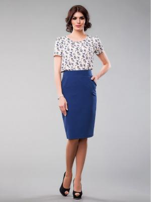 Блузка Be cara. Цвет: синий, бежевый