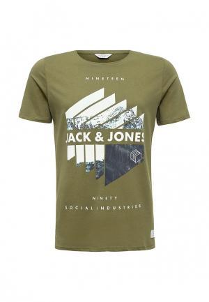 Футболка Jack & Jones. Цвет: хаки