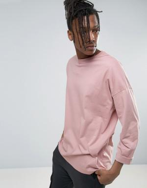 ASOS Розовый oversize-лонгслив с закатанными рукавами. Цвет: розовый