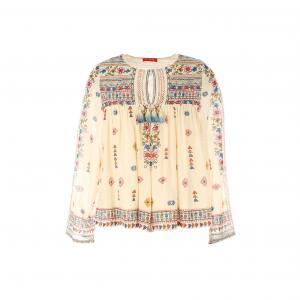 Блузка с длинными рукавами, вышивкой и цветочным рисунком RENE DERHY. Цвет: экрю