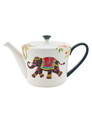 Чайник Слон коричневый 730мл в п/у Elff Ceramics. Цвет: белый, коричневый
