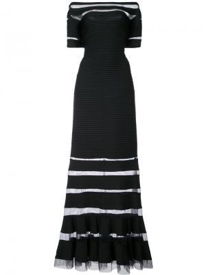 Вечернее платье с прозрачной панелью и открытыми плечами Tadashi Shoji. Цвет: чёрный