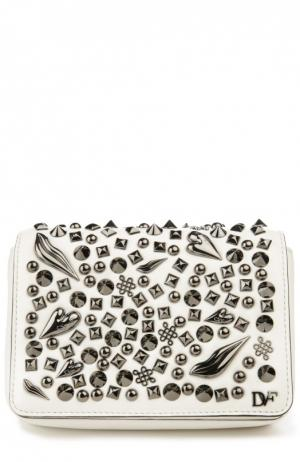Сумка 440 Gallery Bellini Crazy с металлическими заклепками Diane Von Furstenberg. Цвет: белый