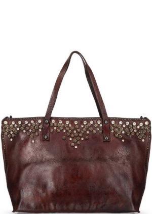 Вместительная кожаная сумка с декором Campomaggi. Цвет: коричневый
