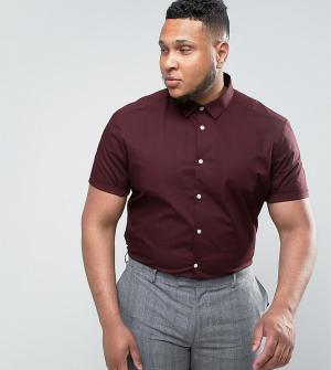 ASOS Бордовая рубашка узкого кроя с короткими рукавами PLUS. Цвет: красный