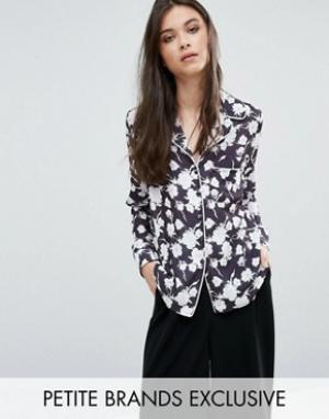 Alter Petite Рубашка в пижамном стиле с цветочным принтом. Цвет: мульти