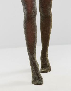Monki Колготки с эффектом металлик. Цвет: черный
