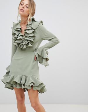 C/meo Collective Платье с оборками Immerse. Цвет: зеленый
