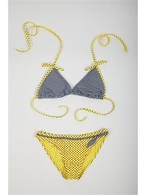 Купальник детский для девочек La Pastel. Цвет: желтый, белый, черный