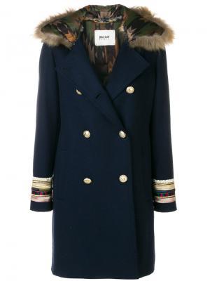 Двубортное пальто Bazar Deluxe. Цвет: синий