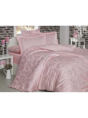 Кпб семейный из бамбука DIAMOND FLOWER нежно-розовое HOBBY HOME COLLECTION. Цвет: бледно-розовый
