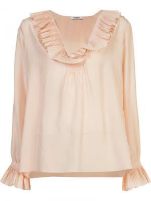 Блузка с плиссированным воротником Vilshenko. Цвет: розовый и фиолетовый
