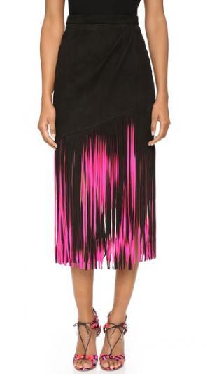 Замшевая юбка с бахромой Tamara Mellon. Цвет: ярко-розовый