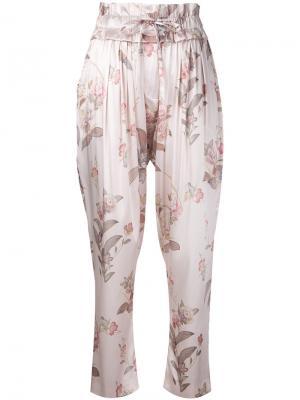 Присборенные брюки с поясом Adriana Iglesias. Цвет: розовый и фиолетовый