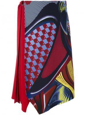 Асимметричная юбка миди Energy Wave Versace. Цвет: красный