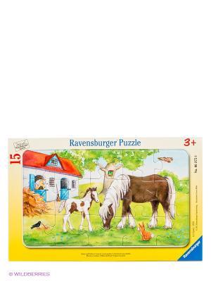 Паззл Кобыла с жеребенком, 15 шт Ravensburger. Цвет: желтый, зеленый, красный