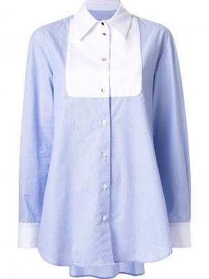 Рубашка с контрастным нагрудником Macgraw. Цвет: синий