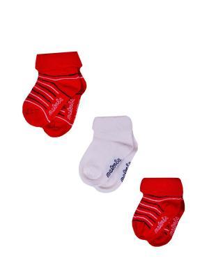 Носки Детские,комплект 3шт Malerba. Цвет: молочный, красный