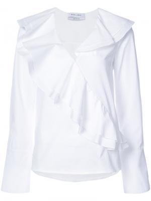 Блузка с оборкой Prabal Gurung. Цвет: белый