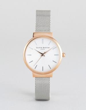 Olivia Burton Часы с сетчатым металлическим ремешком Hackney. Цвет: серебряный
