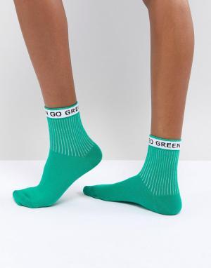 ASOS Носки Go Green. Цвет: зеленый