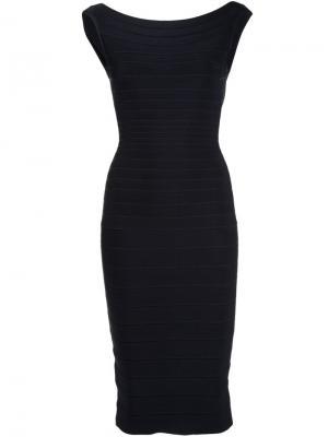 Приталенное платье в рубчик Hervé Léger. Цвет: чёрный