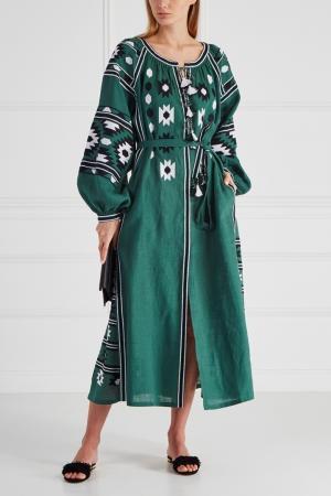 Льняное платье Kilim Vita Kin. Цвет: зеленый