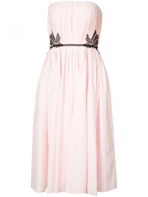 Плиссированное платье с кружевными элементами J. Mendel. Цвет: розовый и фиолетовый