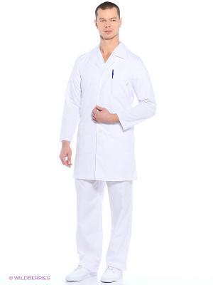 Халат медицинский Med Fashion Lab. Цвет: белый, бледно-розовый