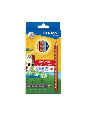 Lyra groove 10 цв.цветные карандаши утолщ.. Цвет: синий, желтый, зеленый