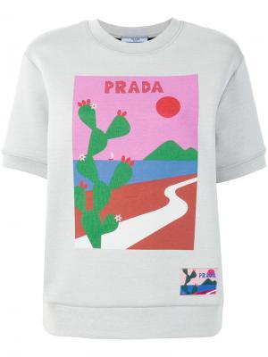 Толстовка с принтом кактуса Prada. Цвет: серый