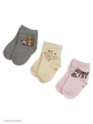 Носки для новорожденных PERA MAYA. Цвет: серый, кремовый, розовый