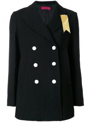 Двубортный пиджак с лентой The Gigi. Цвет: чёрный