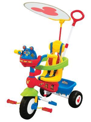 Велосипед 3-колесный Микки Маус с ручкой Kiddieland. Цвет: красный, желтый, синий