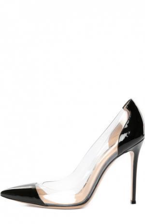 Лаковые туфли Plexi на шпильке Gianvito Rossi. Цвет: черный