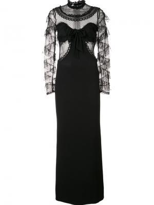 Sheer longsleeved dress Alessandra Rich. Цвет: чёрный