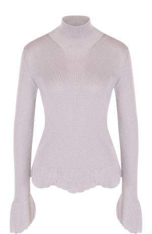 Приталенный свитер с высоким воротником MRZ. Цвет: светло-серый