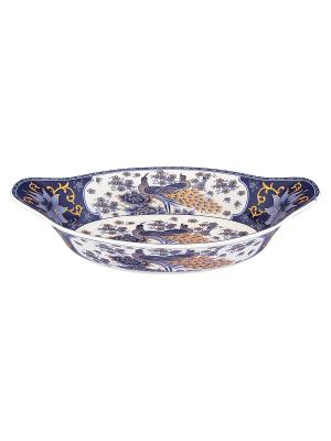 Блюдо - лодочка Павлин синий Elan Gallery. Цвет: белый, синий