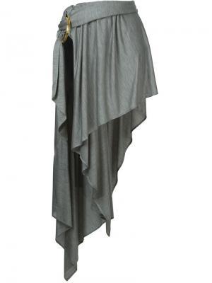 Асимметричная юбка Anthony Vaccarello. Цвет: серый