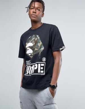 AAPE BY A BATHING APE Футболка с большим камуфляжным логотипом. Цвет: черный