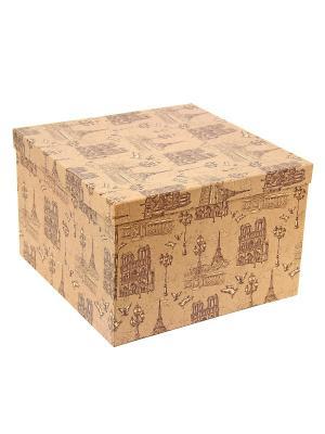 Коробка крафт,  набор из 5 шт. 22х22х16 -30х30х20 см. Прогулки по Парижу. VELD-CO. Цвет: коричневый